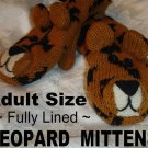 LEOPARD MITTENS knit ADULT puppet MENS WOMENS Fleece Lined animal shaped Halloween Costume