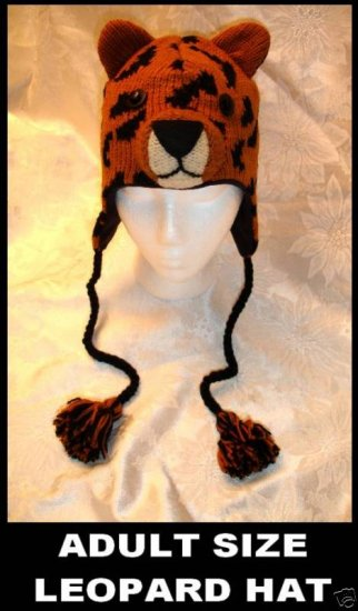 LEOPARD HAT Knit cat ADULT wildcat Halloween COSTUME Ski cap ANIMAL delux Spotted fleece lined