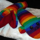 Rainbow SOCK MONKEY MITTENS knit stripe ADULT fleece lined striped stripes cushy Costume delux
