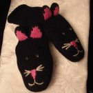 CAT MITTENS knit ADULT puppet BLACK Kitty Face Whiskers FLEECE LINED driving gloves Costume