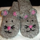 MOUSE MITTENS knit delux Gray Mousey ADULT hand puppet grey Halloween COSTUME child therapy MICE