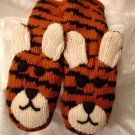 TIGER Mittens ADULT Fleece LINED Bengal Wildcat knit mens womens unisex Halloween Costume