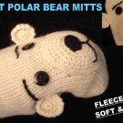 POLAR BEAR Mittens LINED knit ADULT knit PLUNGE hand puppet spirit bear Halloween Costume delux