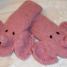 Pink ELEPHANT MITTENS Fleece Lined ADULT Hand puppet  Halloween Costume knit driving gloves