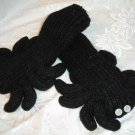 BLACK WIDOW SPIDER MITTENS Fleece Lined ADULT puppet Halloween Costume Mens Womens