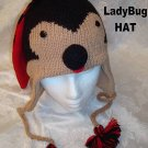 LADYBUG HAT Knit SKI CAP Halloween Costume ADULT lady bug insect FLEECE LINED
