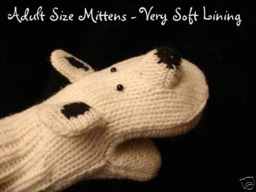 POLAR BEAR Mittens puppet FLEECE LINED Halloween Costume ADULT knit knitwits