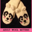 HAPPY POLAR BEAR Mittens LINED Knit ADULT pink cheeks mitts anime Costume smiling delux puppet