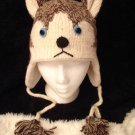 SIBERIAN HUSKY HAT size ADULT knit ski cap DOG TEAM sled Halloween costume huskies