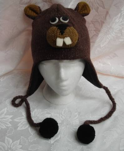 KNIT BEAVER HAT brown toque animal Costume bucktooth buck teeth black FLEECE LINED Adult poms tail