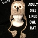 OWL HAT knit ski cap ADULT animal Costume LINED barn hoot GRAY grey cable knit rice university