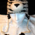 SIBERIAN TIGER HAT knit ski CAP ADULT  Fleece Lined pilot white animal toque HALLOWEEN COSTUME