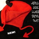 RED DEVIL HAT ski cap ADULT Fleece Lined SUN DEVILS knit wool Halloween Costume horns arrows