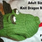 Knit DRAGON MITTENS mitts COSTUME puppet ADULT Green Mens Womens animal COSTUME