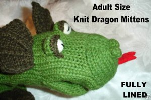 Knit DRAGON MITTENS mitts COSTUME puppet ADULT Green Mens ...