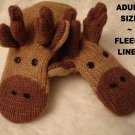 "MOOSE MITTENS mitts cable KNIT hand puppet ADULT 10"" gloves animal Costume"
