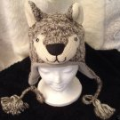 Gray white WOLF HAT knit ski cap FLEECE LINED animal  Costume Mens Womens UNISEX adult