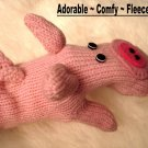 PIG MITTENS knit ADULT puppet PINK piggy FLEECE LINED Halloween costume therapy