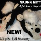 SKUNK MITTENS knit Fleece Lined ADULT puppet MITTS New honey badger Costume