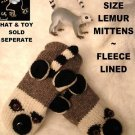 LEMUR MITTENS Fleece Lined ADULT puppet knit wild cat striped ringtail mens womens mitts