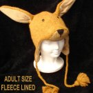 KANGAROO HAT knit animal cap costume cap ADULT mens womens JOEY Fleece Lined Australia KNIT CROCHET