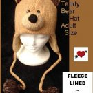 BROWN Teddy BEAR HAT knit ADULT Fleece LINED ski cap animal costume