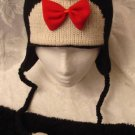PENGUIN HAT knit BOWTIE black tie Costume ADULT ice hockey bow tie pittsburgh penguins fan
