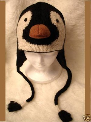 Knit PENGUIN HAT mens womens FLEECE LINED Halloween Costume ice hockey skating costume