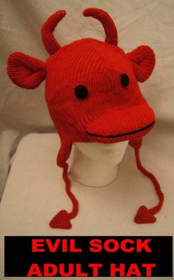 EVIL SOCK MONKEY HAT knit ADULT red sun devil Halloween costume deluxe delux knit wear