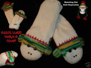 GREEN SOCK MONKEY MITTENS knit FLEECE LINED lime wintergreen spring ADULT
