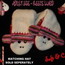 SOCK MONKEY MITTENS knit puppet pink stripe ADULT SIZE halloween costume