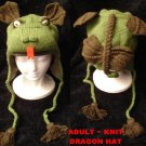 DRAGON HAT knit ski cap FLEECE LINED adult size Halloween Costume delux