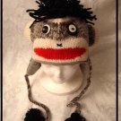 PUNK ROCK SOCK MONKEY HAT knit beanie ADULT emo Halloween Costume FLEECE LINED UK Style Rocker