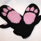 CAT MITTENS Black knit FLEECE LINED pink paws bear Halloween costume kitty