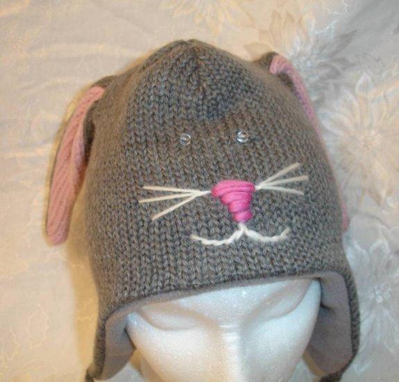 fe5c014e5ad GRAY RABBIT HAT bunny FLEECE LINED grey Ladies Size ADULT cable knit  Halloween costume Ski Cap