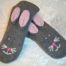 BUNNY MITTENS knit RABBIT gray matching ADULT SIZE puppet FLEECE LINED soft comfortable