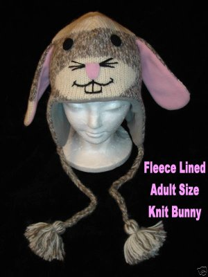 SOCK monkey RABBIT HAT knit ladies ADULT gray bunny slippers Halloween costume FLEECE LINED