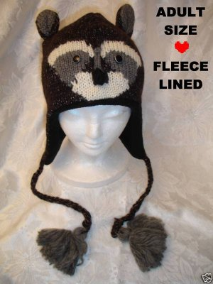 RACCOON HAT knit ski cap Halloween costume ADULT Ladies UNISEX Dark Brown racoon