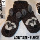 Raccoon MITTENS knit puppet racoon gloves brown Fleece Lined LINING soft