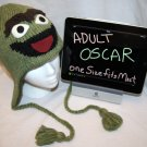Adult OSCAR THE GROUCH toque cap Costume Hat KNIT Fleece Lined ski cap delux