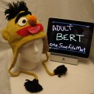 Adult BERT ernie's pal Costume Hat KNIT Fleece Lined Hand Made halloween ski cap SESAME STREET delux