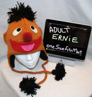 Adult ERNIE bert's pal costume Hat KNIT black Fleece Lined pom ski cap SESAME STREET delux