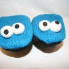Adult COOKIE MONSTER  MITTENS blue KNIT Fleece Lined  ONE SIZE FITS MOST muppet SESAME STREET