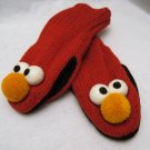 Adult ELMO MITTENS red KNIT Fleece Lined  ONE SIZE FITS MOST costume SESAME STREET
