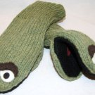 Adult  OSCAR MITTENS GREEN  KNIT Fleece Lined  ONE SIZE FITS MOST costume SESAME STREET