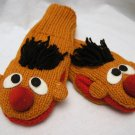 Adult ERNIE MITTENS Orange KNIT Fleece Lined Bert's pal Halloween costume SESAME STREET