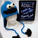 Adult Cookie Monster Hat KNIT Fleece Lined Hand Made halloween COSTUME ski cap SESAME STREET