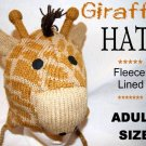 GIRAFFE HAT Knit HEAD adult SKI CAP Halloween Costume toque cream lining MENS WOMENS unisex delux