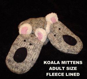 KOALA MITTENS knit ADULT Fleece Lined BEAR gray puppet bear cub mens womens d...