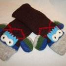 ADULT ARGYLE SOCK MONKEY MITTENS blue red green FLEECE LINED PERFECT GIFT ski snowboard